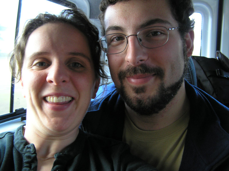 Self take with Seth in the shuttle to the rental car place... I look silly