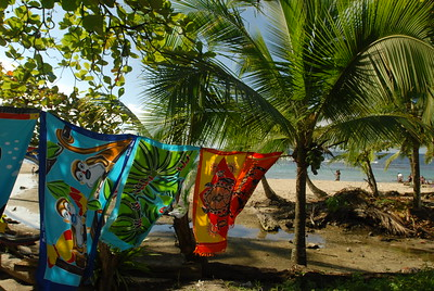 © Joseph Dougherty. All rights reserved.   Colorful textiles for sale along the beach in Puerto Viejo.