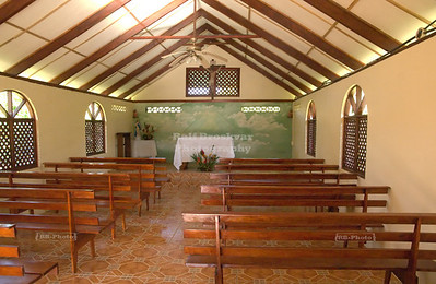 Inside the little church of Tortuguero Village
