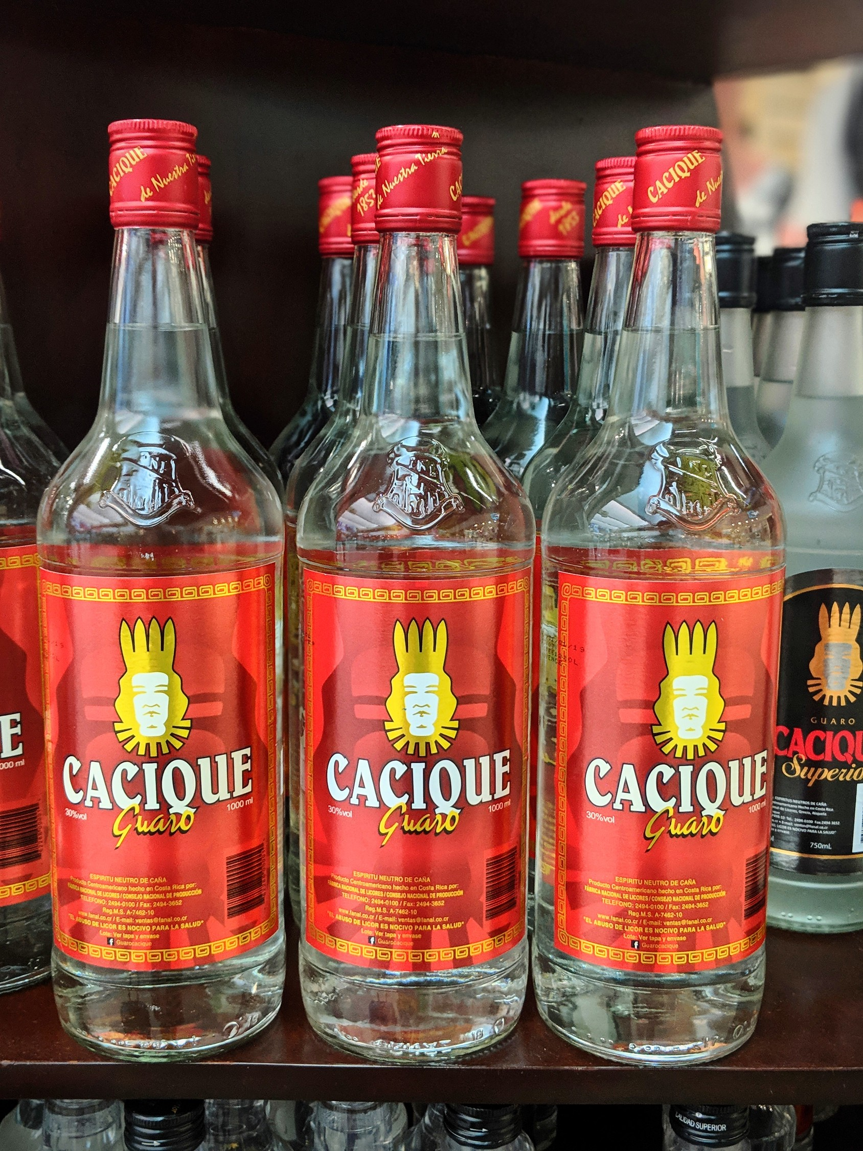 Traditional Costa Rican drink guaro cacique at the San Jose airport duty free store.