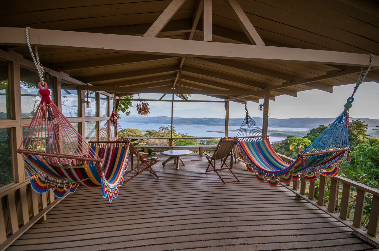 The patio that overlooks Lake Arenal.