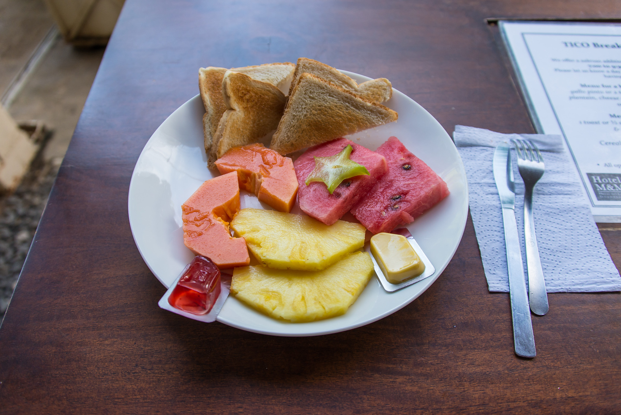 This was my daily breakfast at the Hotel M&M in Playas Del Coco, Costa Rica - December 2014