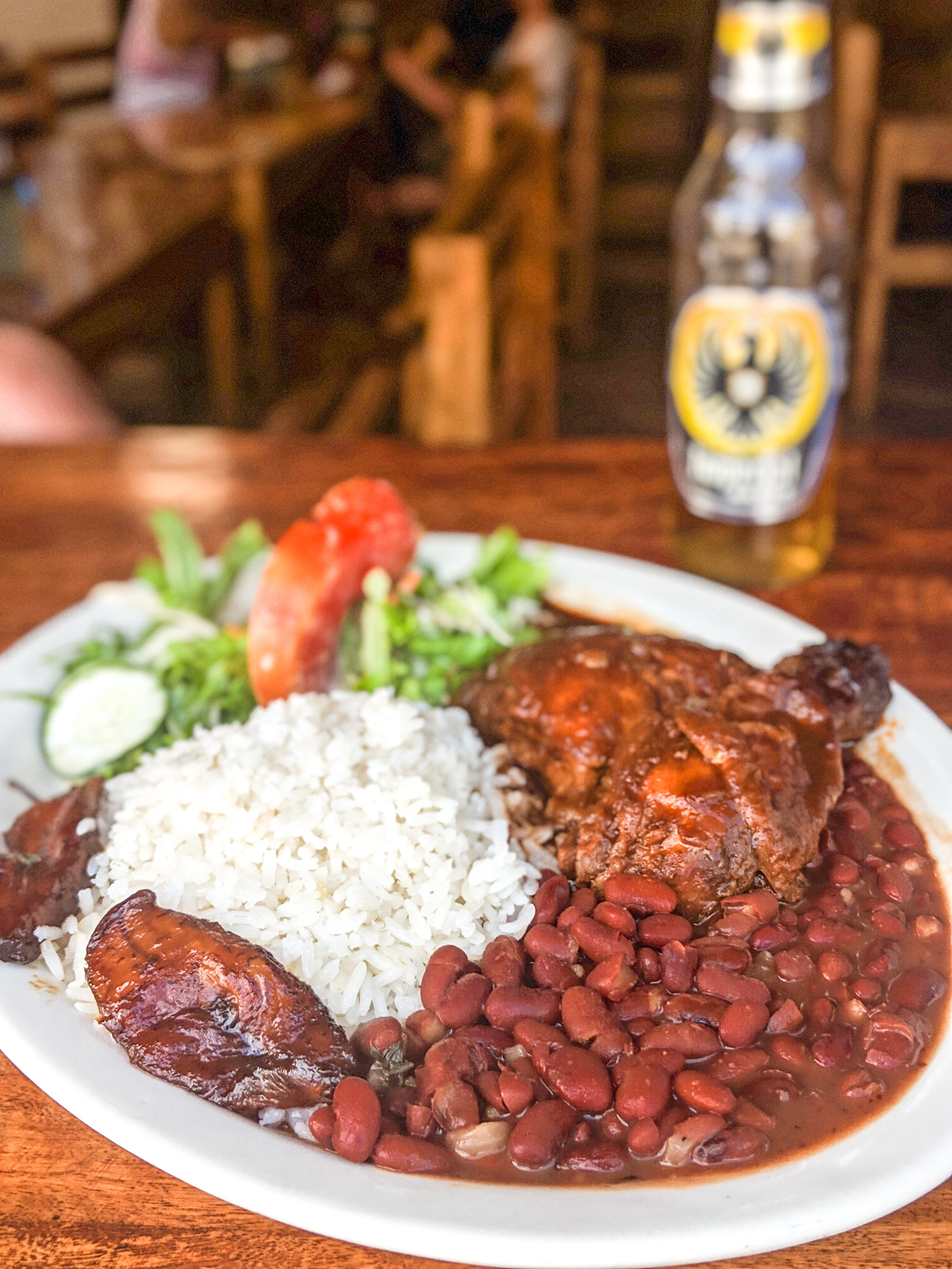 Costa Rican Caribbean chicken with casado as the side in Puerto Viejo Costa Rica