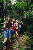 Model Released, Four People Examining Rain Forest Vegetation, Lake Coter Eco Lodge, Private Biological Reserve, Northern Pacific Mountains, Arenal Lake Region, Costa Rica, Central America