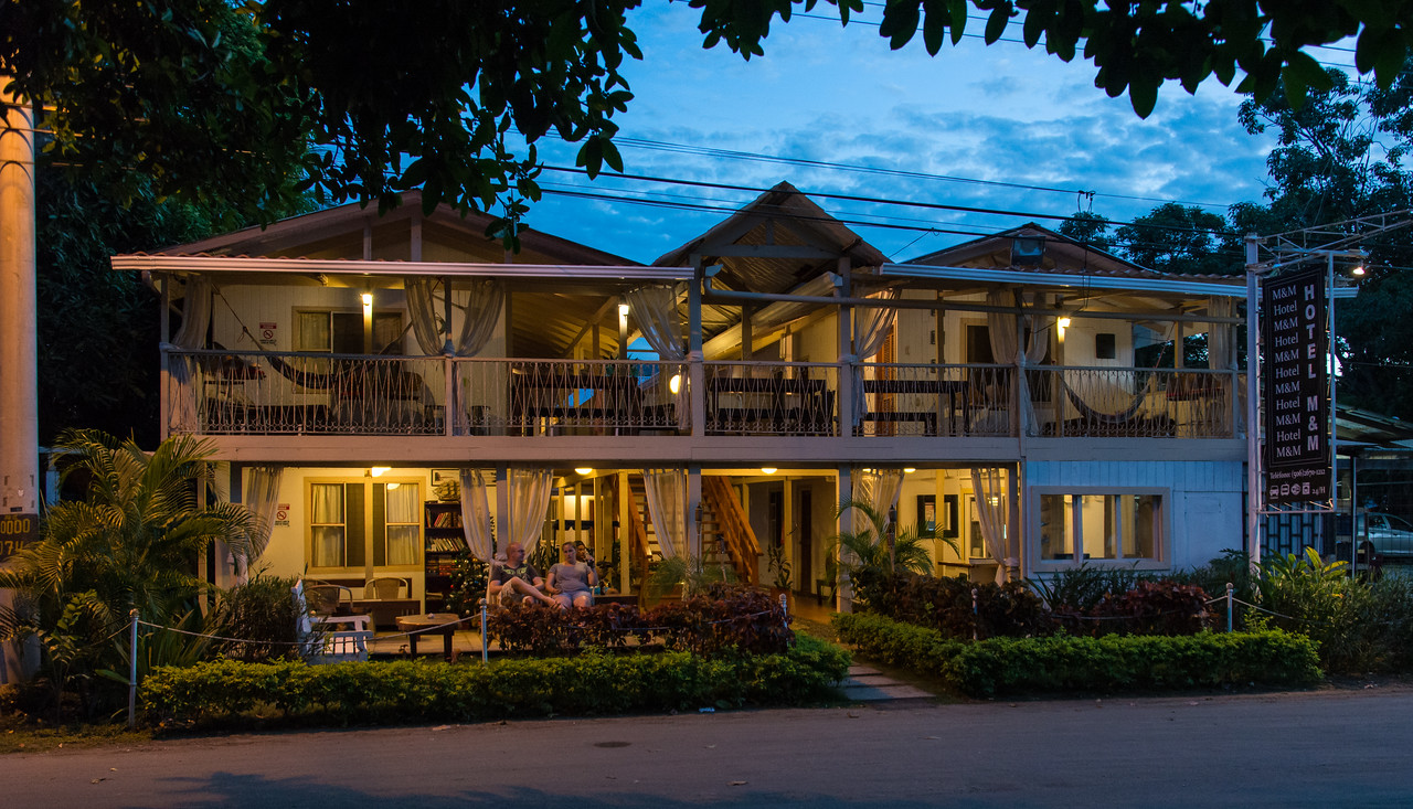Evening view of Hotel M&M in Playas Del Coco, Costa Rica - December 2014