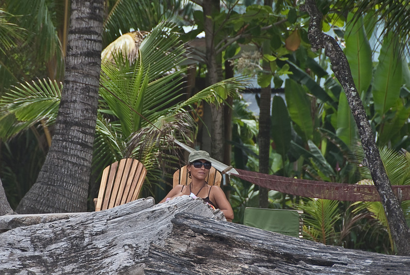 Niqui can be seen here thinking hard about the big surf camp picture.
