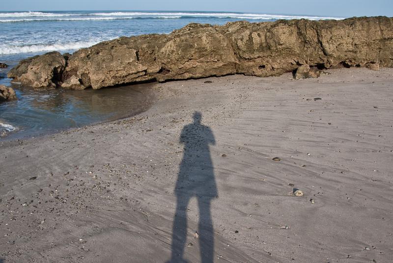 Beach adjacent to the hotel.  Self portrait.