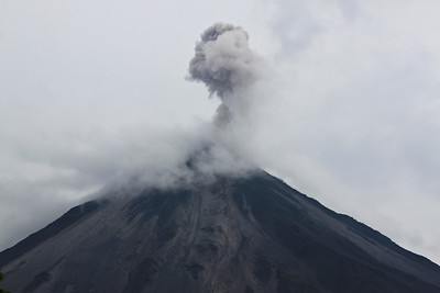 An eruption during the day: You hear a rumble (much like lightning), sometimes feel a shake, then look up an the cloud is already beginning to dissipate.