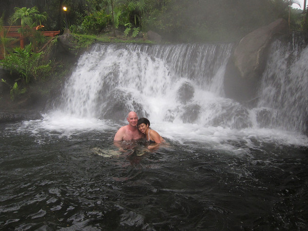 One of the many warm waterfalls one finds as they wind their way through the grounds of Tabacon.