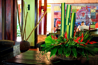 Tabacon lobby.  filled with flowers from their property