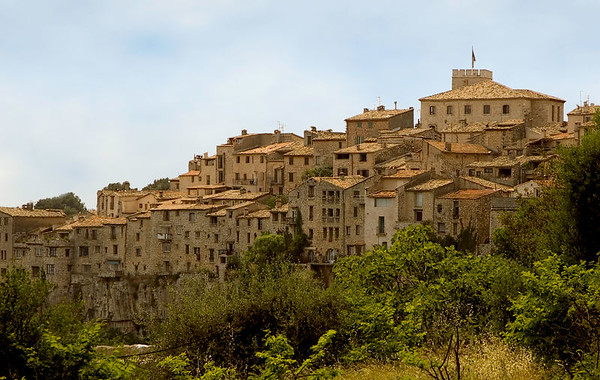 Tourettes Sur Loup is a town in the south of France.  This view is from a nearby restaurant.  The town overlooks a gorge and has an active artist community.