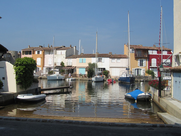 Pretty water front boat houses along the canals of Port Grimaud.