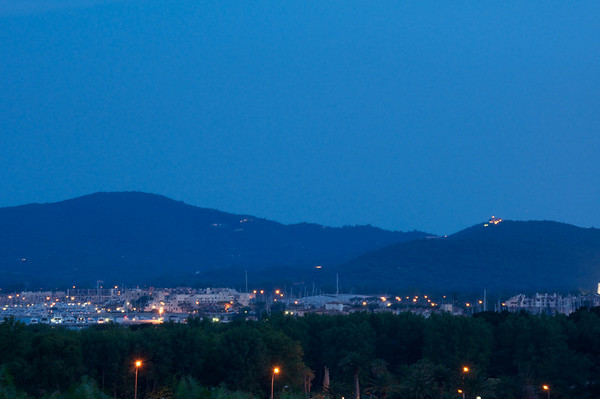 Port Grimaud at night.