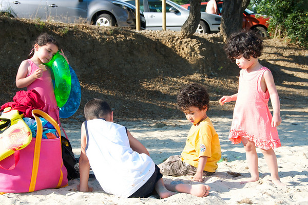 Juliette, Leopold, Jaden and Cyane at the first of the many visited.  This was a road side beach close to our hotel.