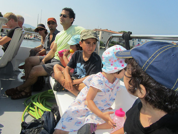 Hooligans at the back of the boat taxi.  On our way to St-Tropez!