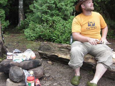 Lunch up in the Coulonge headwaters on day two.