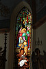 Spectacular quality stained glass in the High Hill Church, Texas.