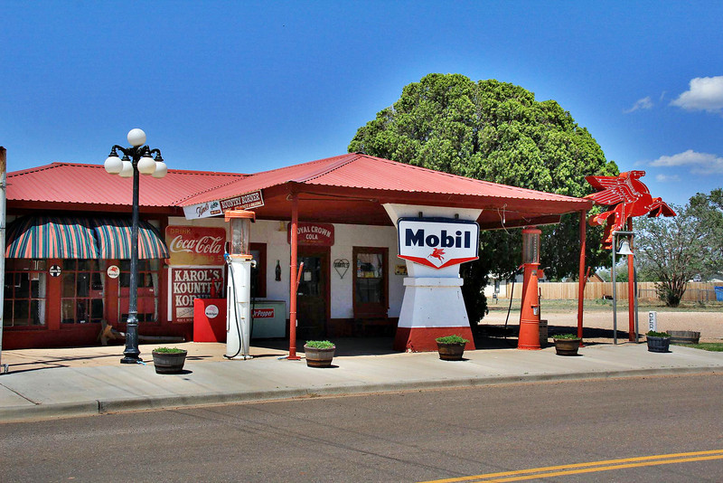 "Old Mobil Station in small west Texas town of Quitaque ( pronounced ""Kitty-kway""), late May 2012."