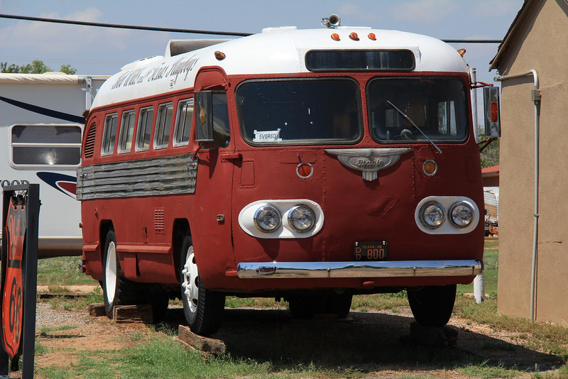 Bob Wills and his Texas Playboys made famous western swing and a 1930's touring bus just like this one. His museum and this bus are located in the tiny town of Turkey, Texas, which was his hometown.