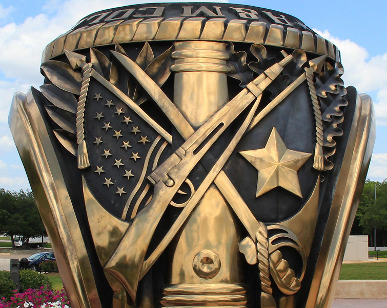 Close up of the TAMU Aggie Ring, at Clayton Williams Center-a perfect walk-thru replica which stands 12 feet tall.