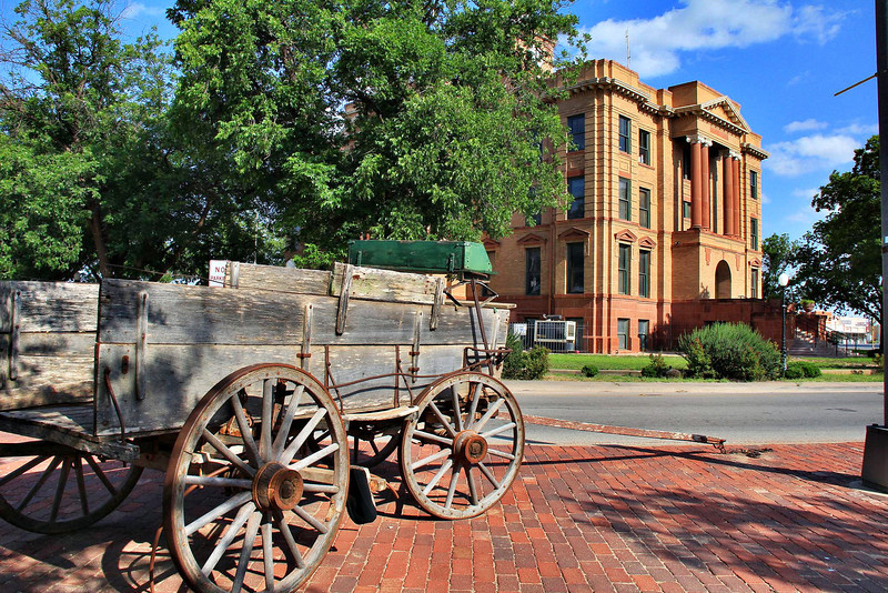 Mid afternoon in Anson, Texas, May 27, 2012. Pictured is the centerpiece Jones County Courthouse.