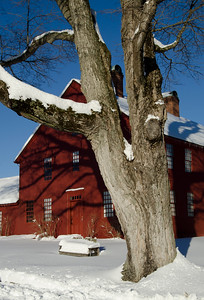 Nathan Hale Homestead in winter.