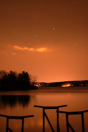 Stars over Coventry Lake on a cold winter night.