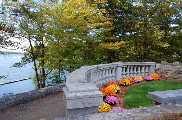 Contemplation area, Nathan Hale Cemetery. Lake Wangumbaug in distance.