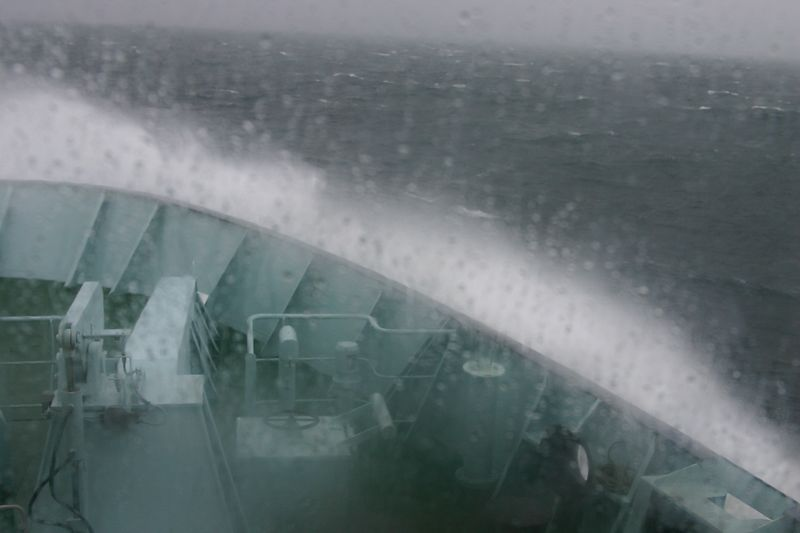 The ferry crossing with a heavy gale