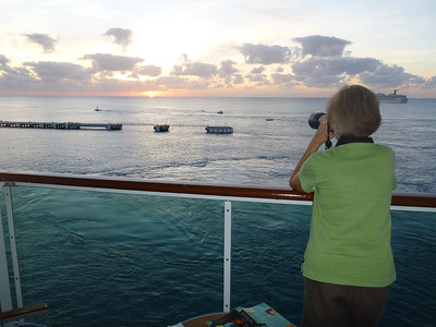 photographing the sunset from our balcony