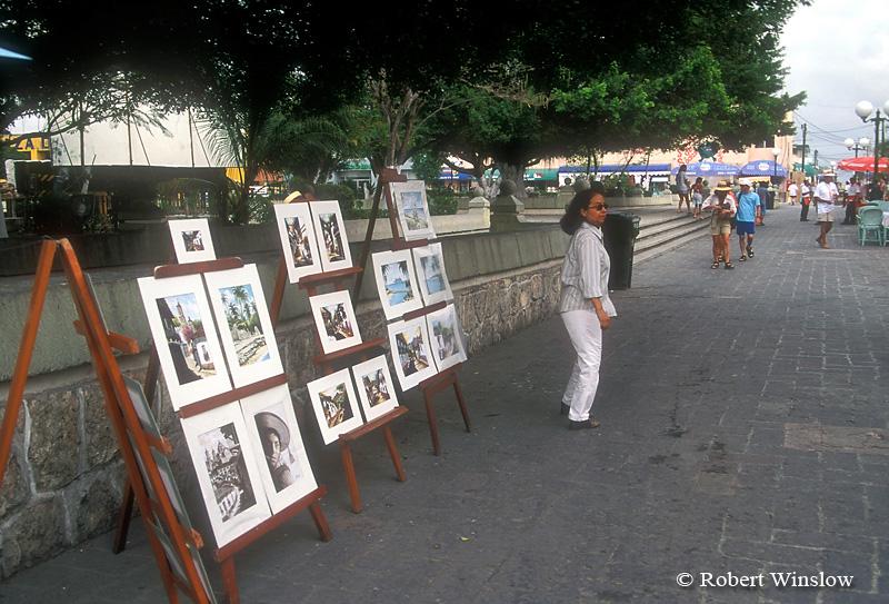 Street Scene, San Miguel Plaza, San Miguel, Cozumel Island, State of Quintana Roo, Yucatan Peninsula, Mexico