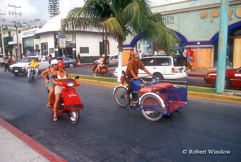 Street Scene, San Miguel, Cozumel Island, State of Quintana Roo, Yucatan Peninsula, Mexico