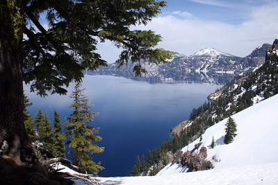 The lake is at 6178 ft above sea level and about 1000 ft below the rim.