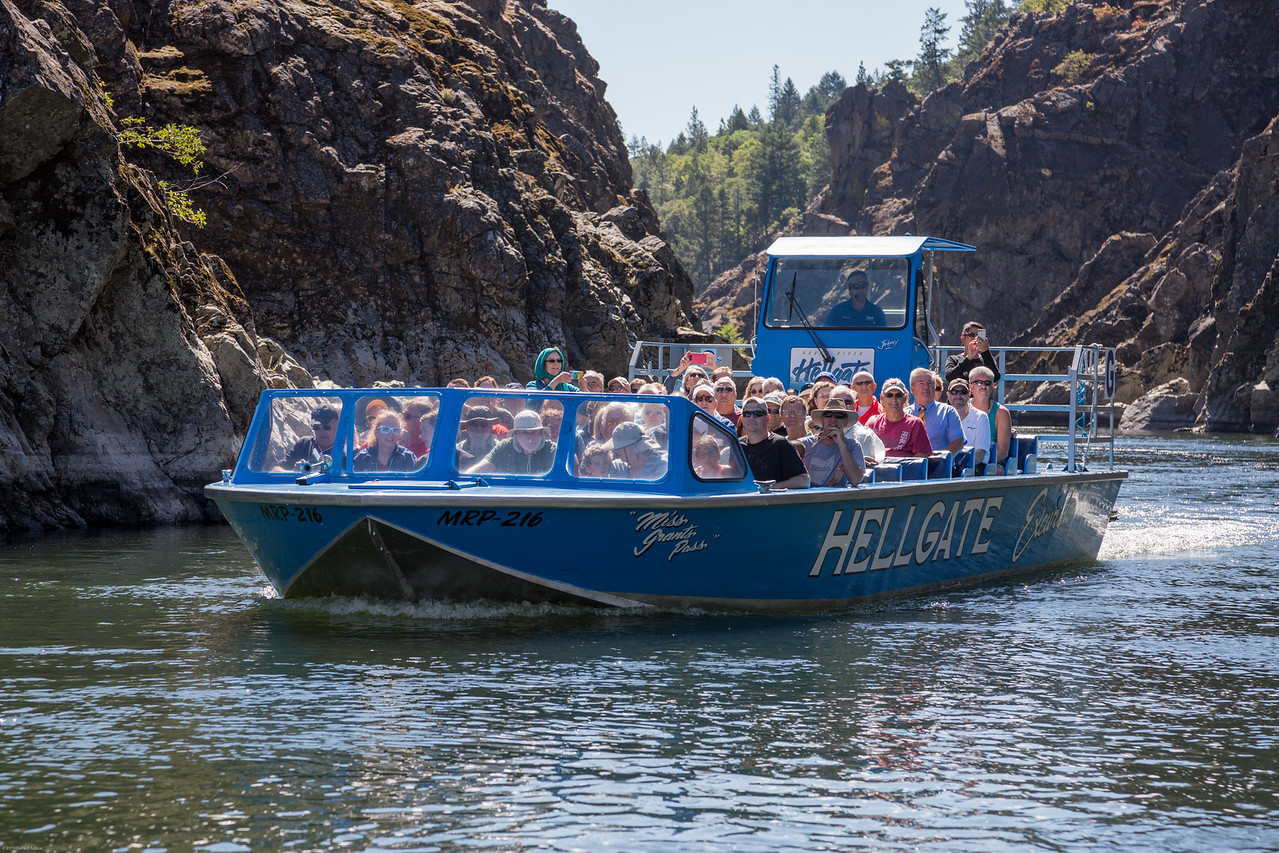 Jetboat Passing in the Rogue River Canyon