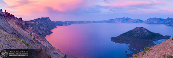 Crater Lake Sunset - Super HD Panorama (18,764x5376 pixels/300dpi). Sunday, August 17, 2014 at 8:12 PM. Created from 27 vertical exposures.  9 horizontal positions with 3 exposures each. Digitally stitched into three separate blending planes and HDR tone fusion mapped. ISO 50, f/11, 45mm.