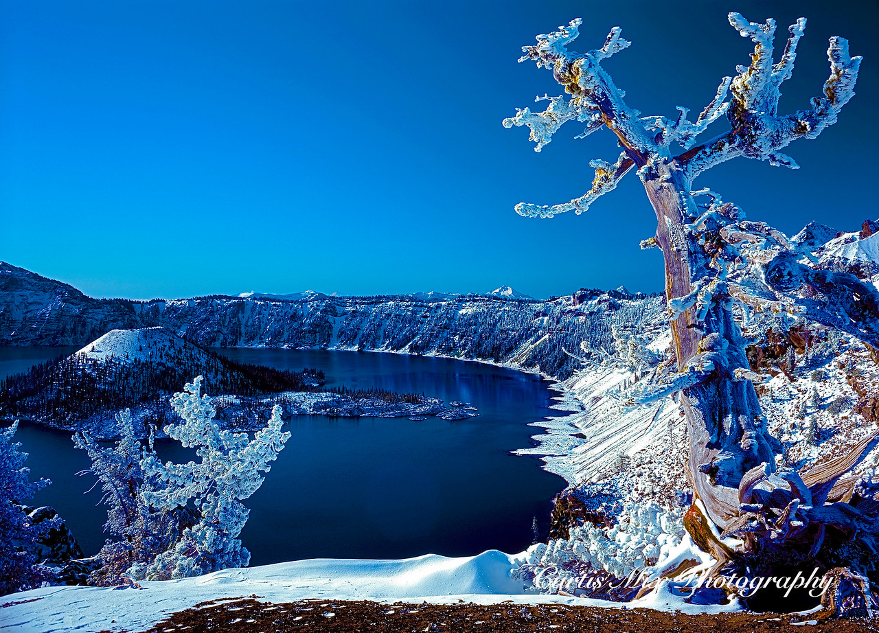 First snow. This image was captured on 4X5 sheet film. This is Crater lake Oregon.