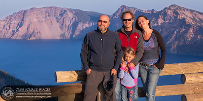 Tochina, Greg, Ann and Maisie out along the rim of Crater Lake.  August 16, 2014 at 7:22 PM.