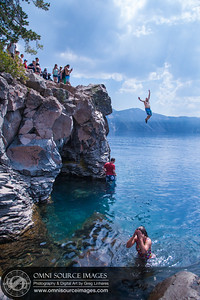 Tochina jumping into Crater Lake on Sunday, August 17, 2014 at 12:55 PM.