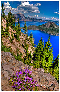 Beautiful summer day at Crater Lake.
