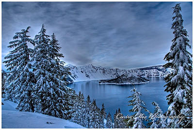 Crater Lake on a winter day.