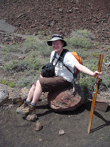 Michal sitting on a lava bomb.