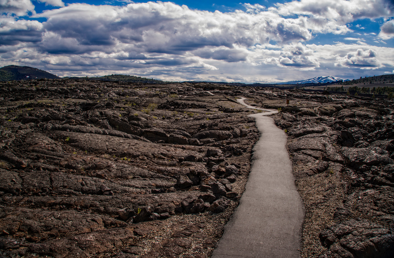walking path on lava fields
