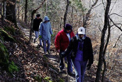 Hikers single-up on the trail from Ponca to Steel Creek, Buffalo National Scenic River, Arkansas, February, 2009.