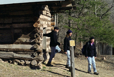 Rick, Debbie and Rita explore the Villinines homestead, Ponca access, Buffalo National River. Arkansas, February 2009.