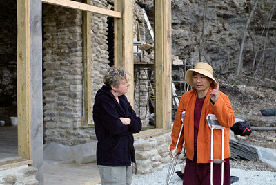 Rita and Tibettan Monk, Buddhist temple under construction near Parthenon, Arkansas, February, 2009.