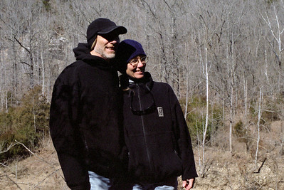 Rick and Debbie on the trail from Ponca to Steel Creek, Buffalo National River, Arkansas, February, 2009.