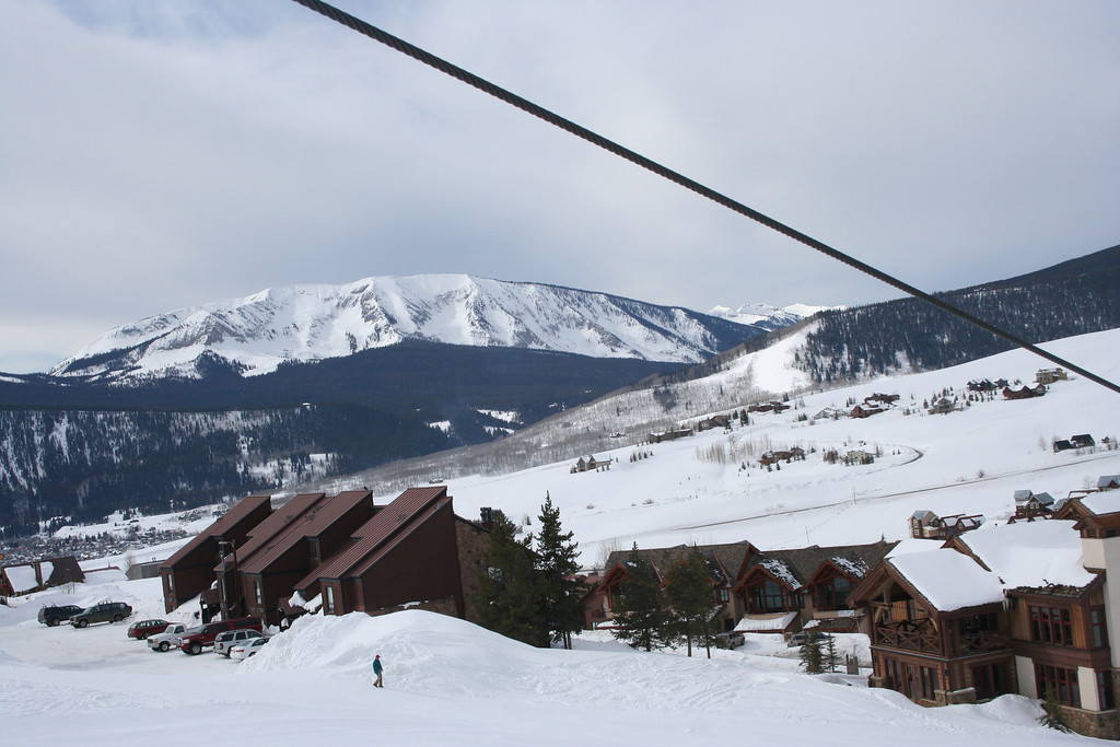 Riding up West Wall chairlift