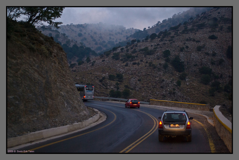 Bus ride through Lefka Ori - the White Mountains - winding roads like many places in Crete