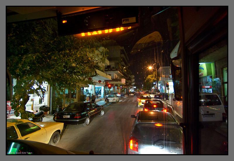 Center Chania at night - traffic is dense.