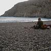 Rob racking gear by the Mediterranean at the end of Agio Farango, Crete, Greece.